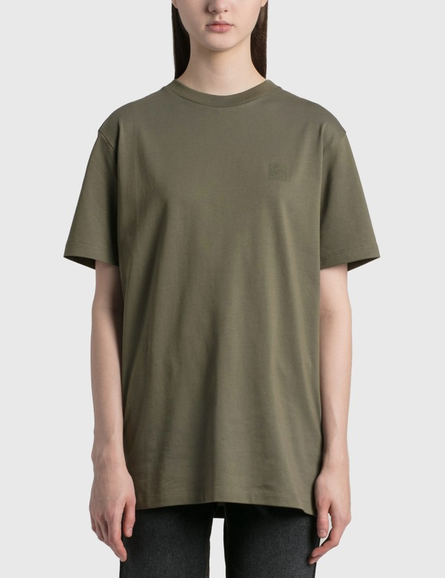 Loewe Anagram Embroidered T-shirt Khaki Green Women
