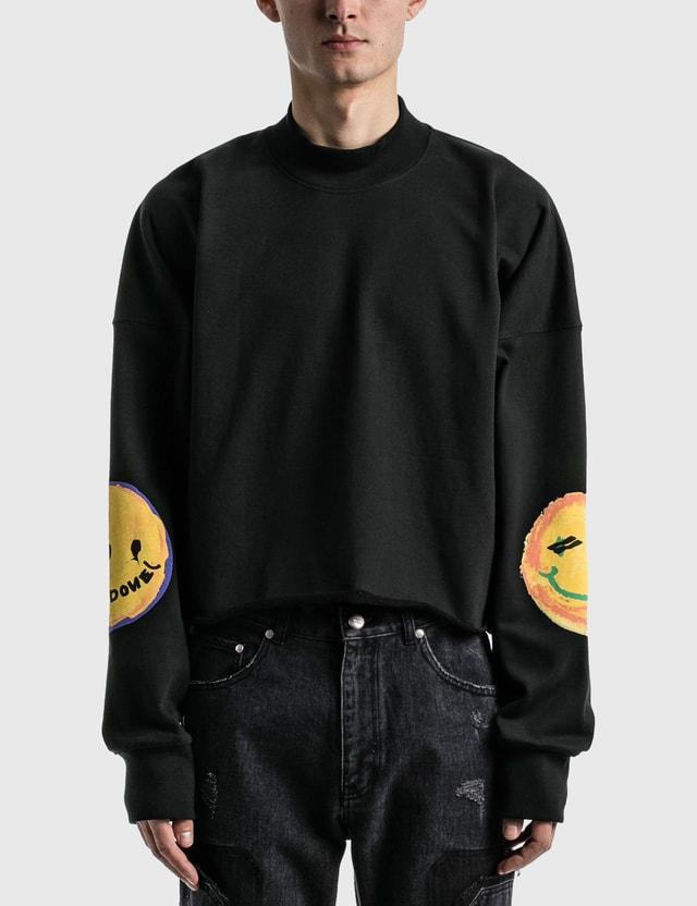 We11done Black Smiley Raw Edge Sweatshirt Black Men