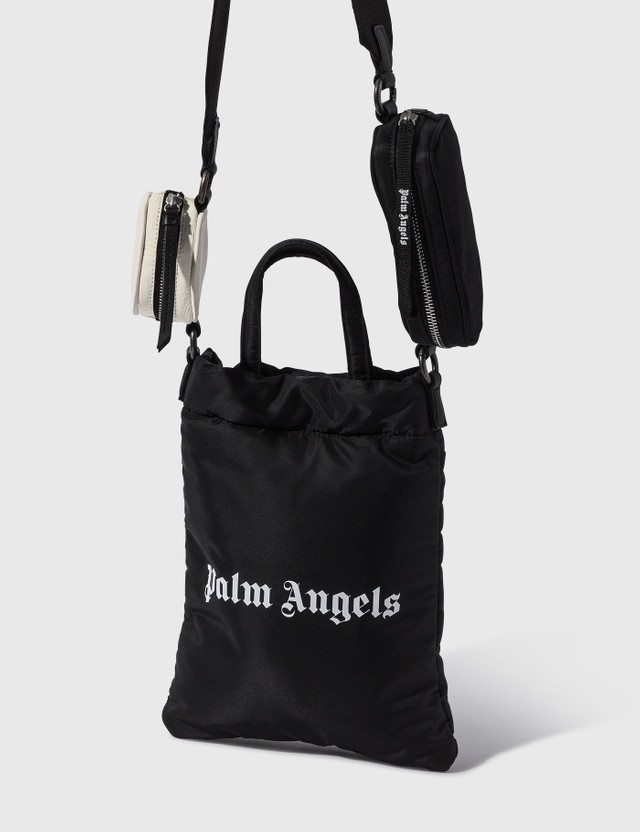 Palm Angels Logo Print Tote Bag With Pouches Black White Women