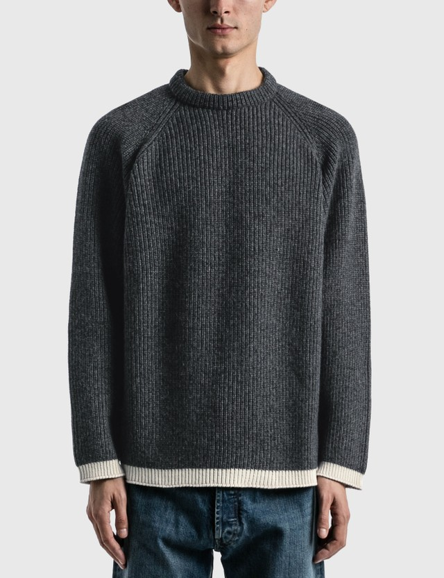 Maison Margiela Knit Pullover Sweater Dark Grey Mouline+off White Men