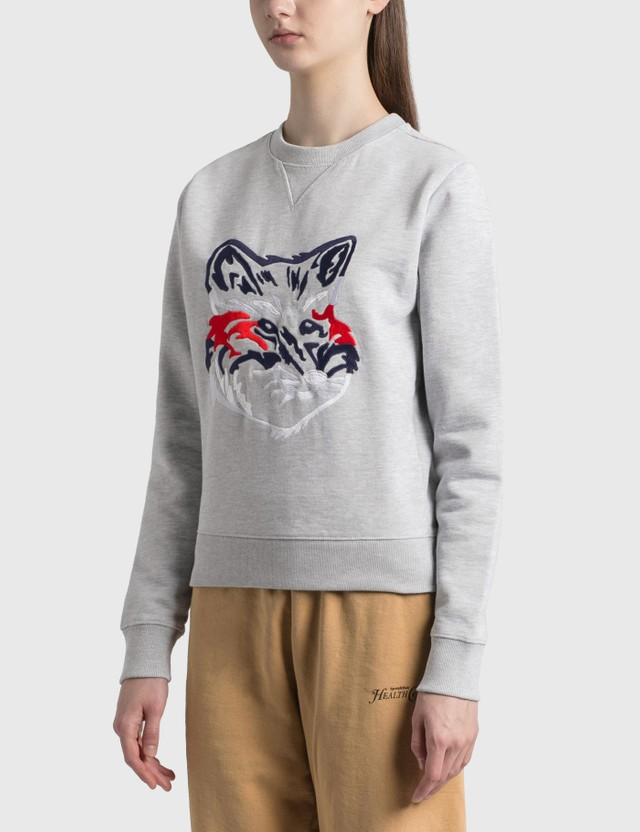 Maison Kitsune Big Fox Embroidery Regular Sweatshirt Grey Melange Grm Women