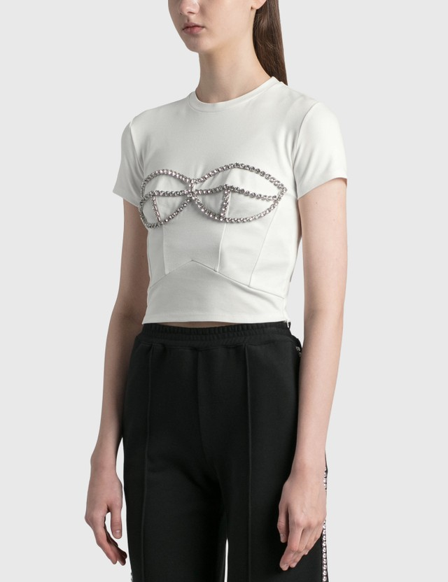 Area Crystal Bustier T-Shirt White Women