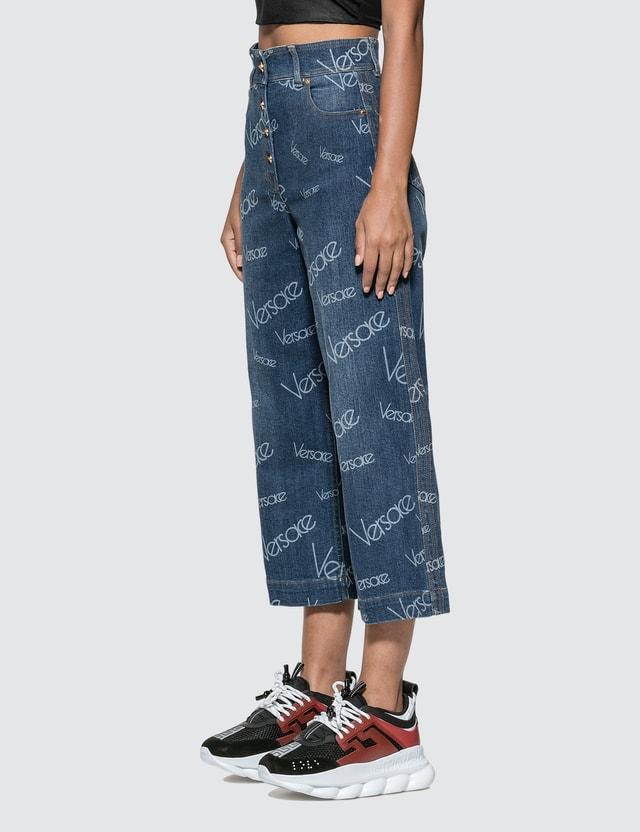 Versace Logomania Print Wide Leg Cropped Jeans