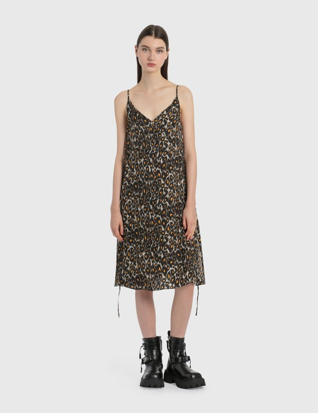 R13 Midi Slip Dress with Back Tie Grey/orange Leopard Women