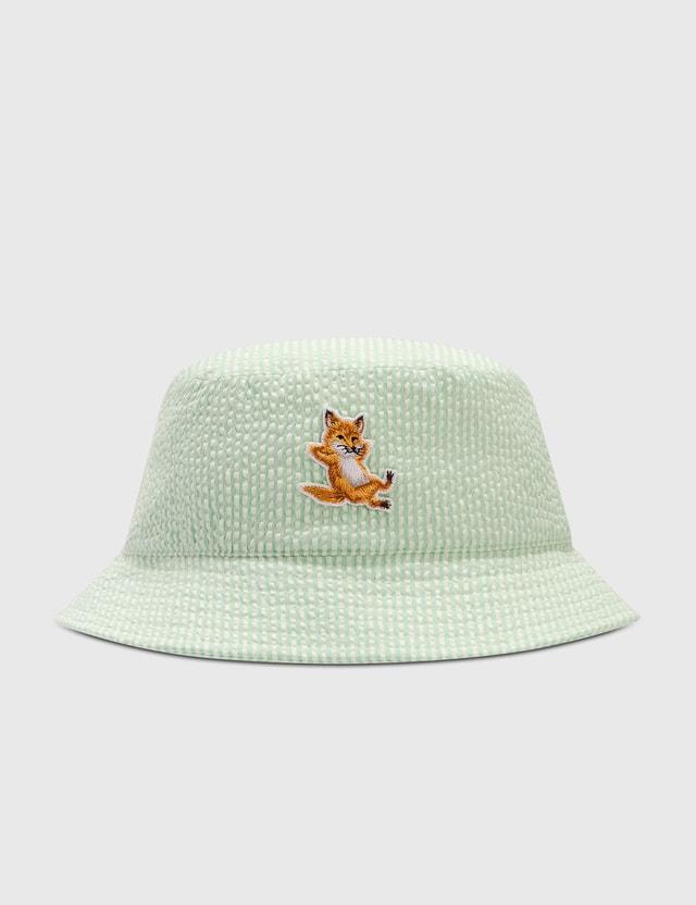 Maison Kitsune Chillax Fox Bucket Hat Green Stripe Gns Women