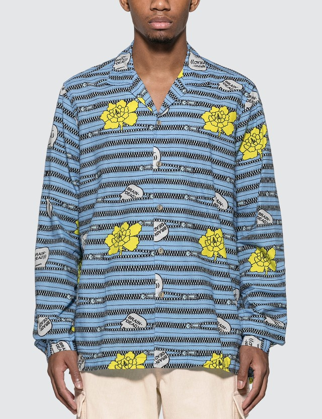 Brain Dead Zipper Print Oxford Button Up Shirt