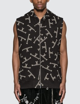 Mastermind World Allover Logo Print Sleeveless Sweatshirt