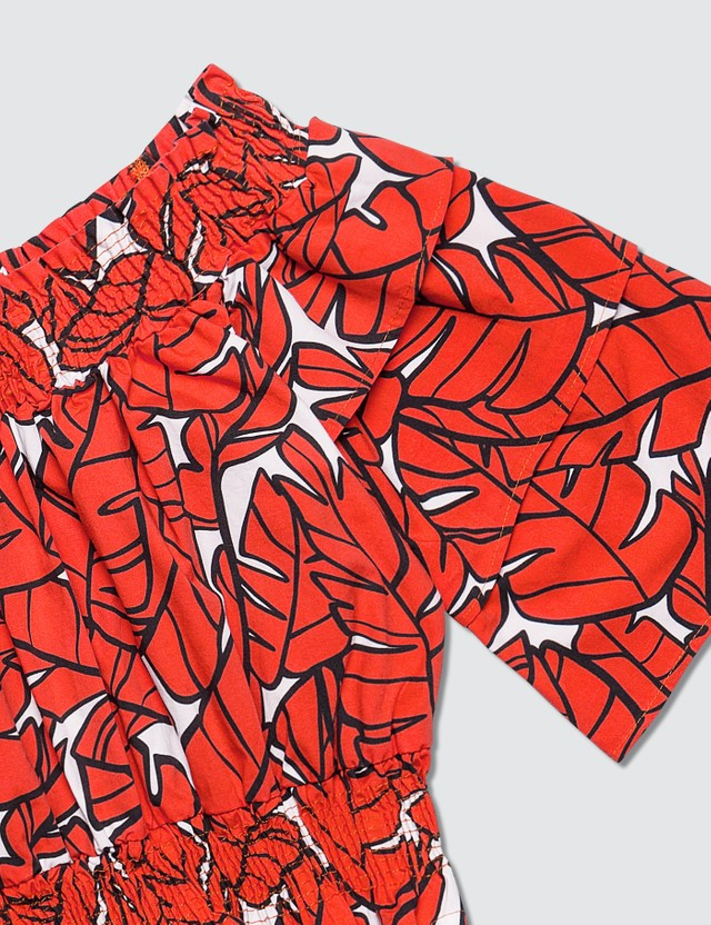 MSGM Leaf Graphic Printed Blouse Rosso Girls