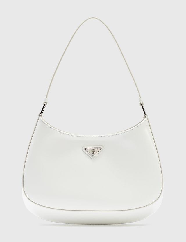Prada Cleo Brushed Leather Shoulder Bag Bianco Women