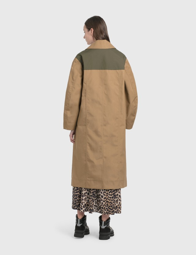 Ganni Double Cotton Coat Tannin Women