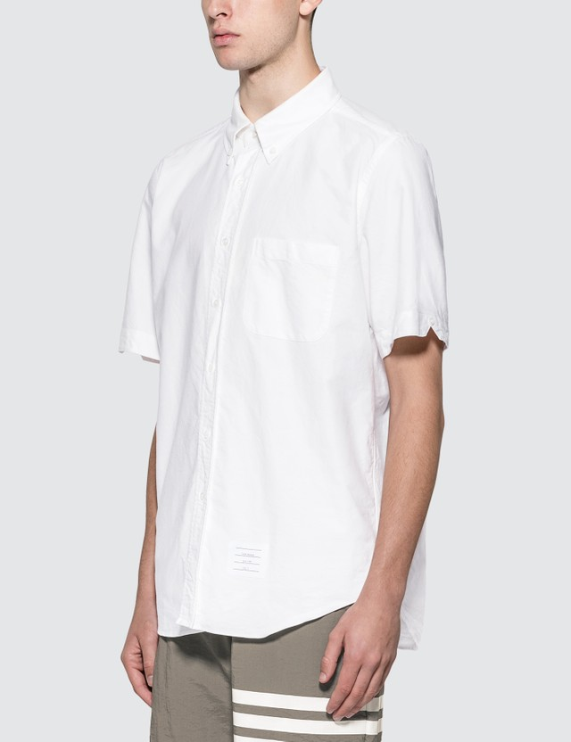 Thom Browne Straight Fit Short Sleeve Oxford Shirt