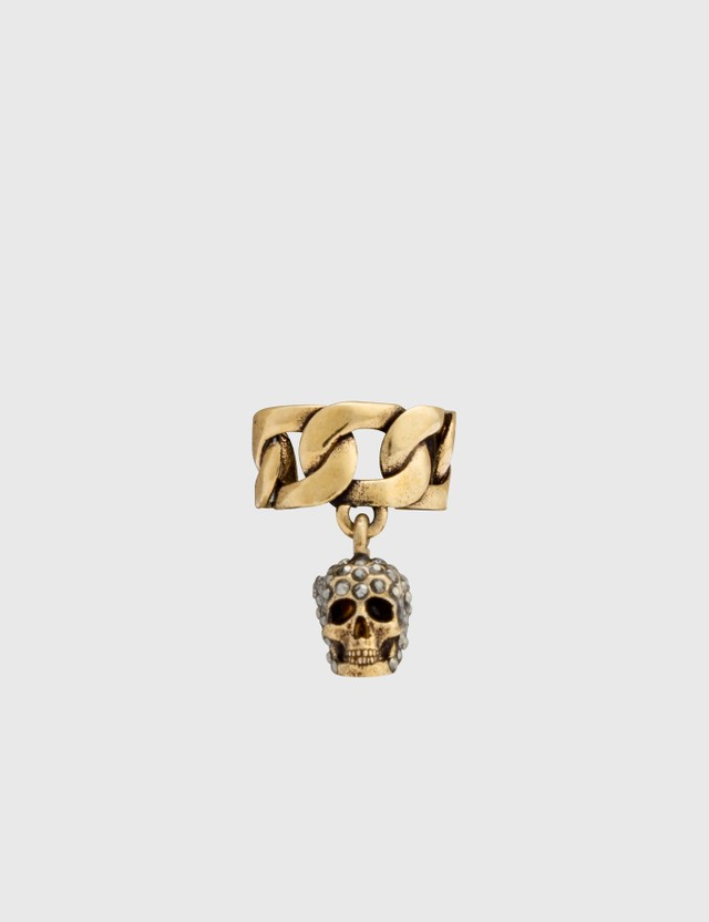 Alexander McQueen Chain Ear Cuff with Pave Skull Mix Women