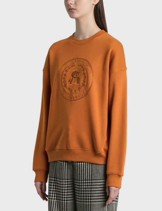 Acne Studios Fiena Embroidered Sweatshirt Cognac Brown Women