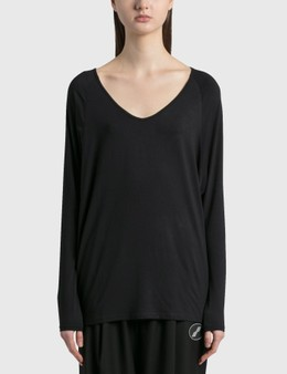 Random Identities Drapey V Neck Long Sleeve T-Shirt