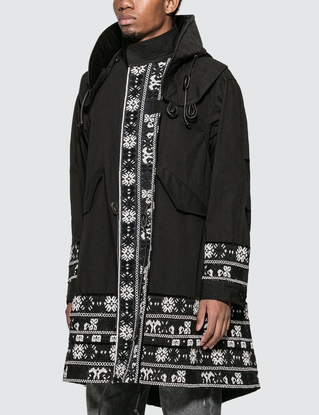 Sacai Floral Stripe Jacquard Coat
