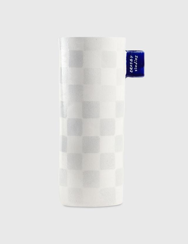Crosby Studios Grey Checkers Vase With Tag