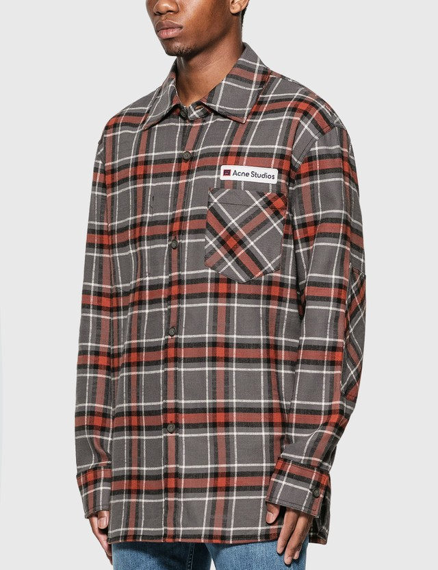 Acne Studios Logo Patch Flannel Overshirt