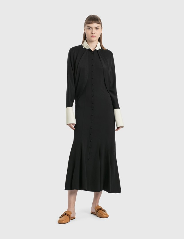 Loewe Cape Sleeve Long Dress In Satin Back Crepe Black/white Women