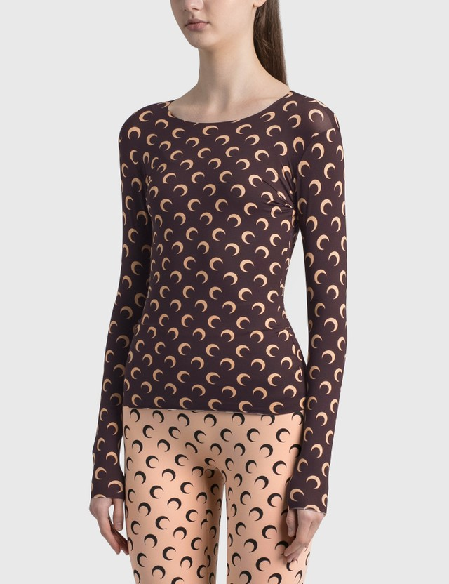 Marine Serre Second Skin Moon Top 08 All Over Moon Brown Women