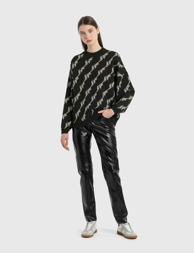 MSGM Allover Logo Knit Pullover Black Women