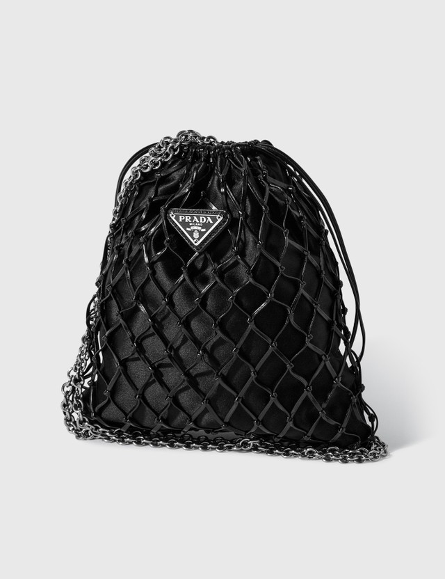 Prada Mesh And Satin Crossbody Nero Women