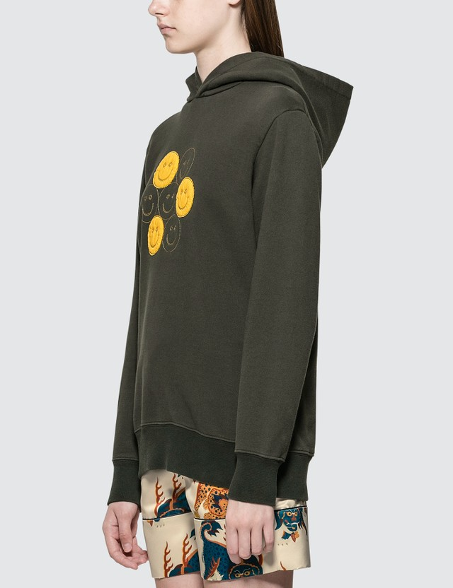Kirin Smiles Embroidery Hoodie Army Yellow Women