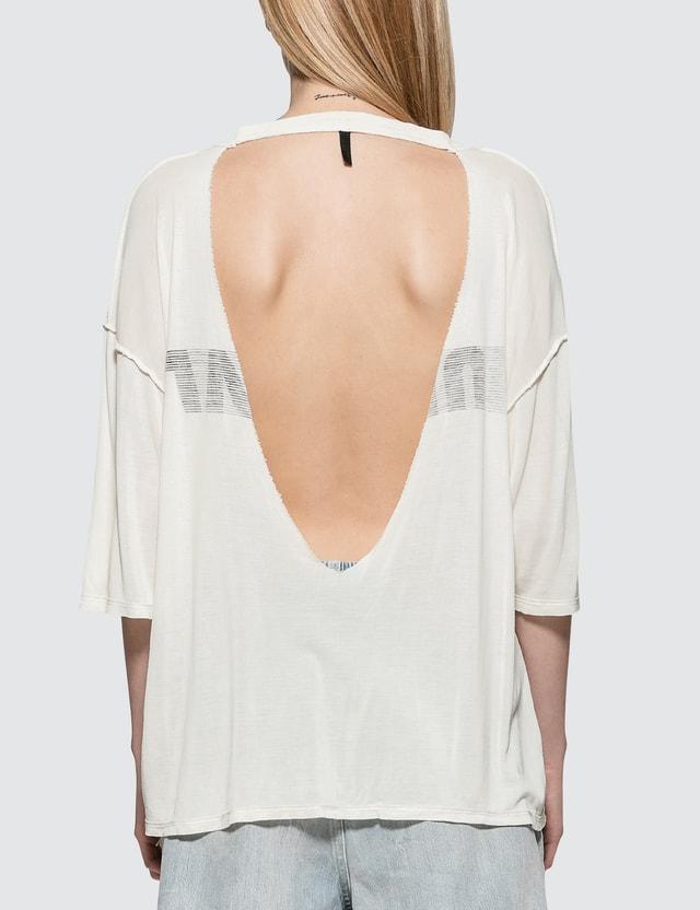 Unravel Project Lines Reverse V Cut T-Shirt White Women