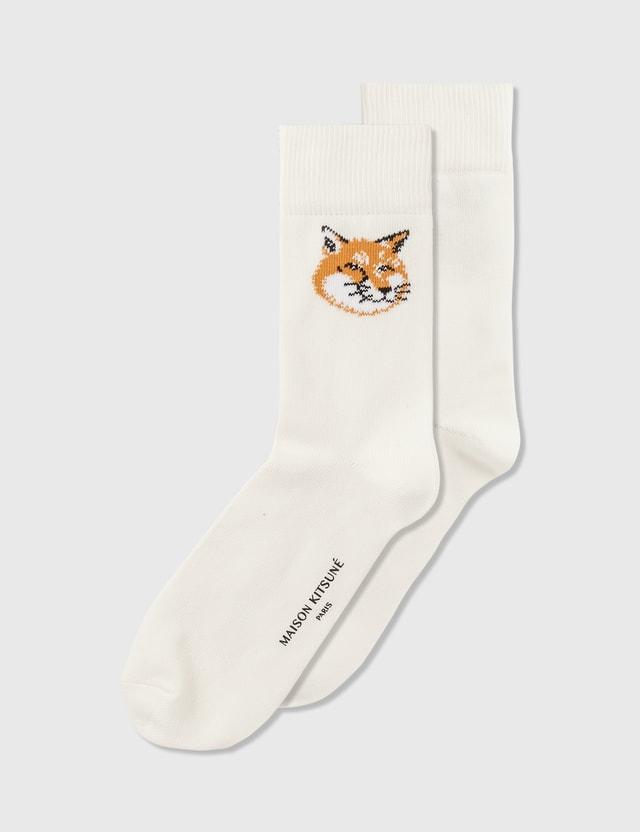 Maison Kitsune Fox Head Socks Off White Women