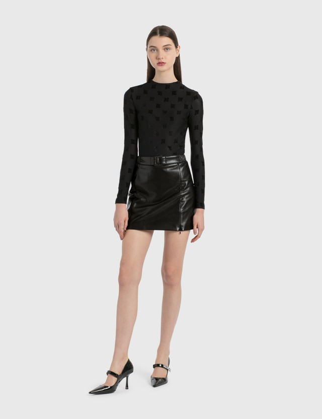 Misbhv Black Vegan Leather Mini Skirt Black Women