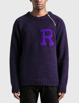 Raf Simons Letter Badge And Zipper Raglan Sweater
