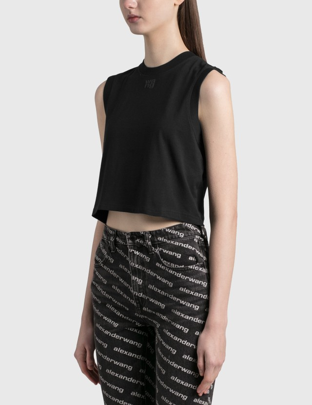 Alexander Wang.T Shrunken Logo Tank Black Women