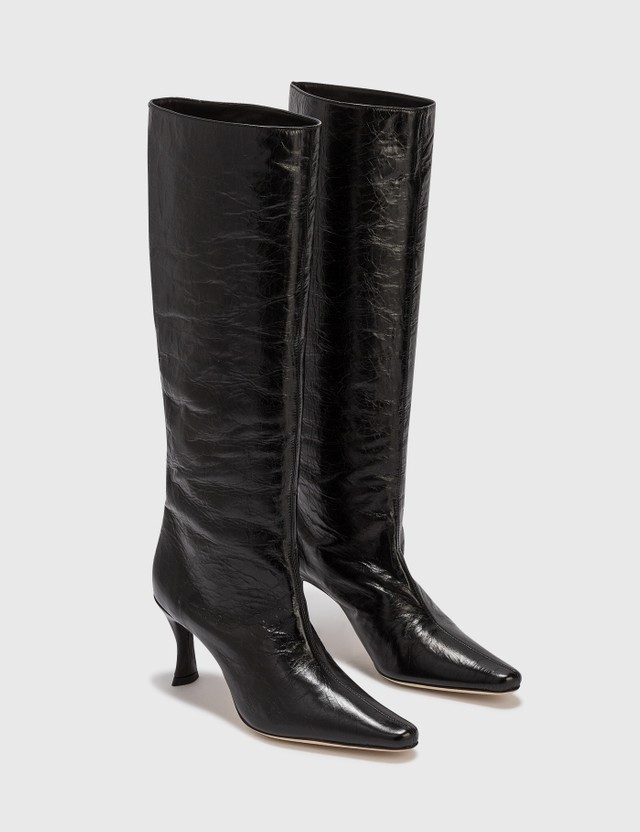 BY FAR Stevie 42 Black Creased Leather Boot Black Women