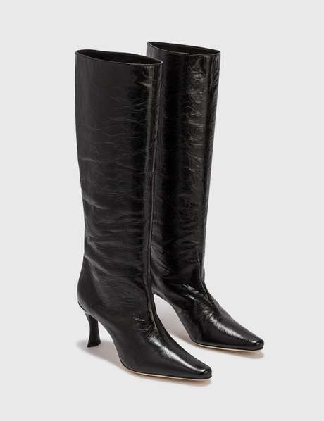 By Far Stevie 42 Black Creased Leather Boot