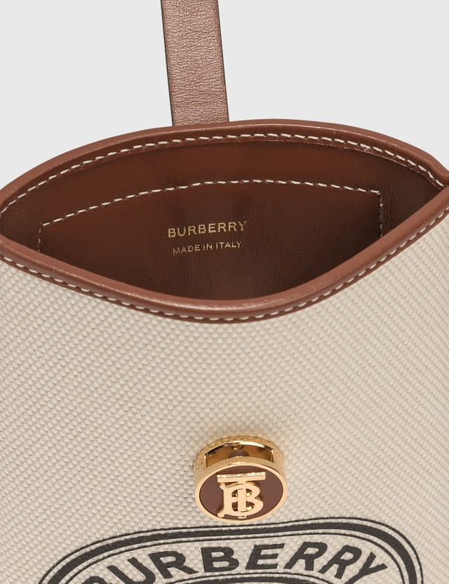 Burberry Logo Graphic Cotton Canvas Phone Case with Strap White / Tan Women