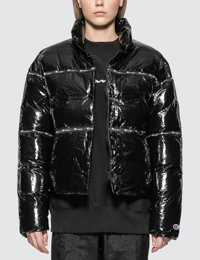 Champion Reverse Weave Nylon Shiny Puff Jacket Black Women
