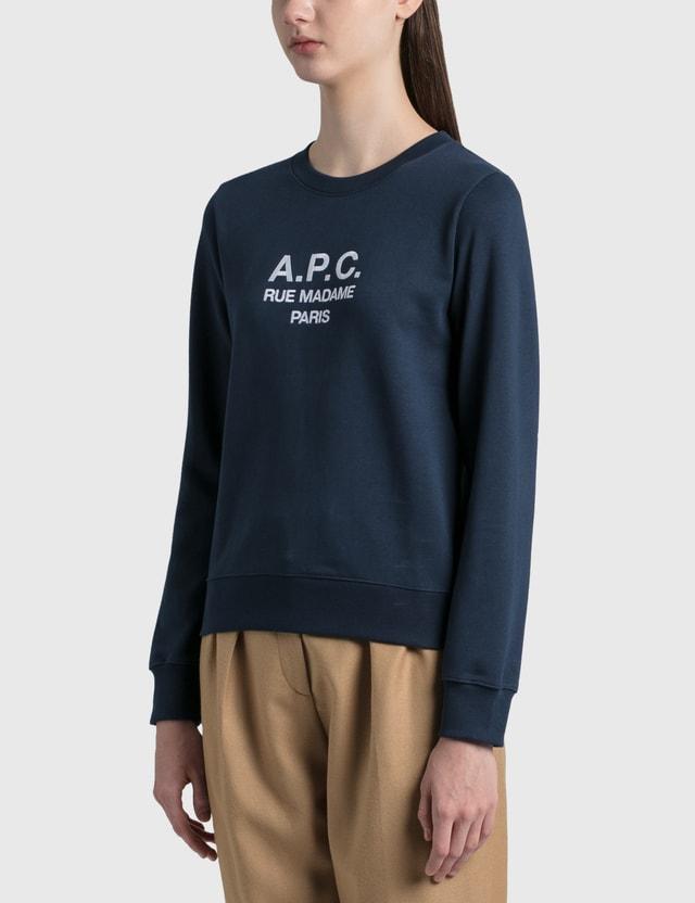 A.P.C. Logo Sweatshirt Iaj Navy Women