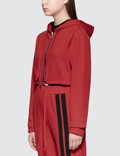 Danielle Guizio Cotton Cropped Hoodie Red Women