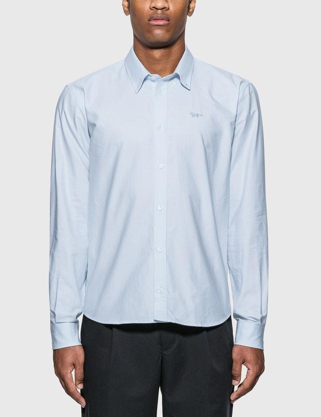 Maison Kitsune 폭스 자수 클래식 셔츠 Blue Men