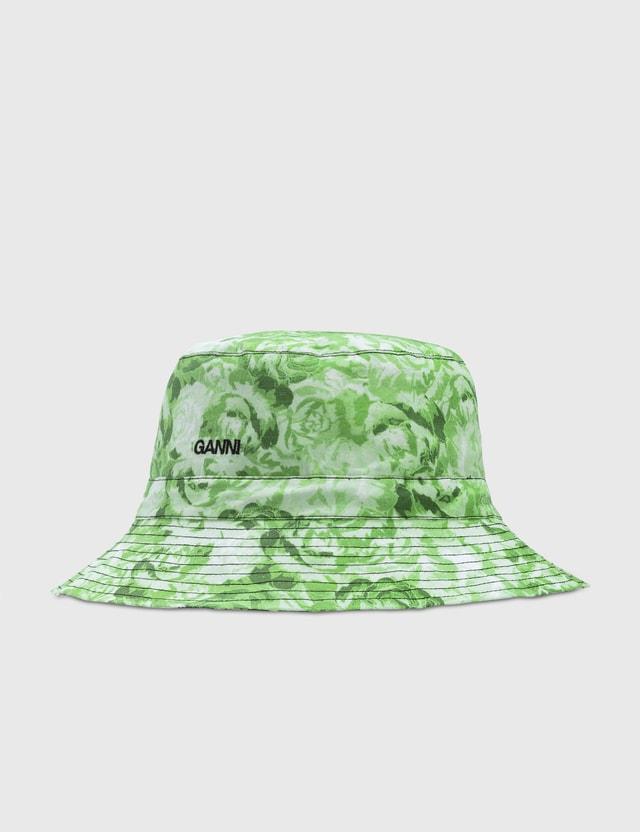 Ganni Printed Cotton Poplin Bucket Hats Island Green 778 Women