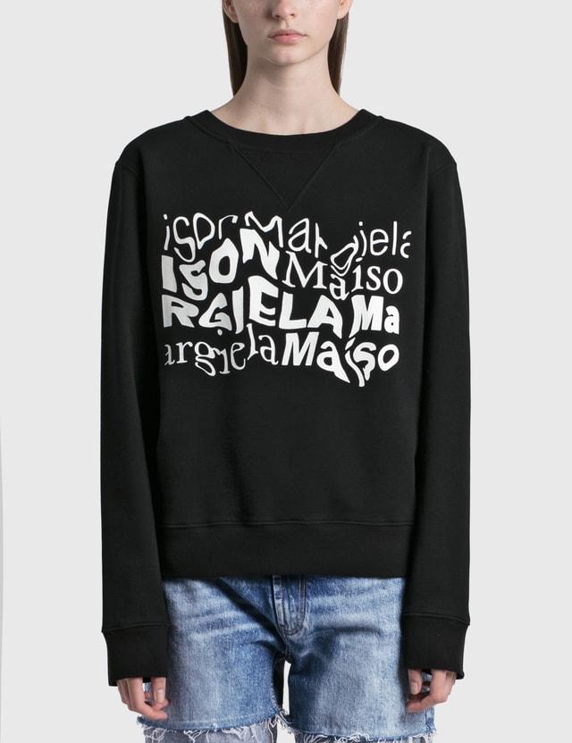 Maison Margiela Distorted Logo Sweatshirt Black Women