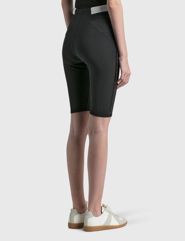Moncler Matt Technical Stretch Shorts With Mesh Black Women