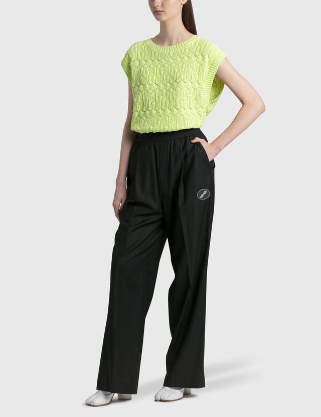 We11done Lace Knit Round Neck Vest Lime Women