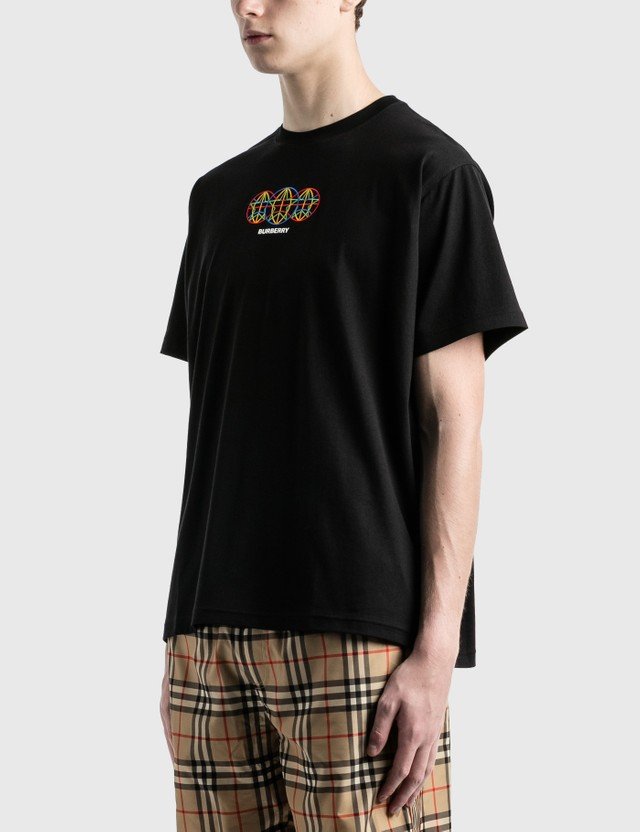 Burberry Embroidered Globe Graphic Cotton Oversized T-Shirt Black Men