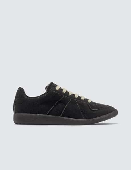메종 마르지엘라 '독일군' 레플리카 호텔 스니커즈 - 블랙 스웨이드 Maison Margiela Replica Hotel Sneakers
