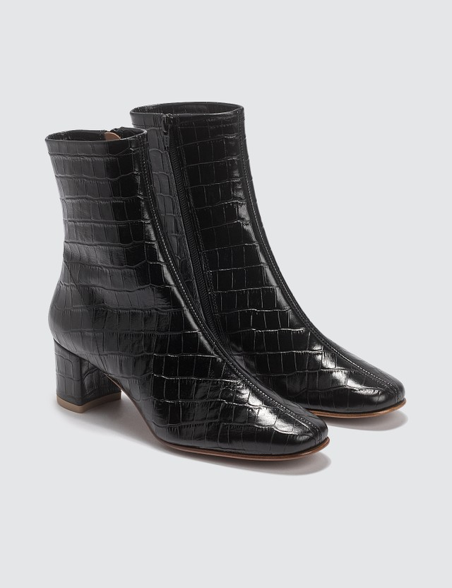 BY FAR Sofia Croco Embossed Leather Black Boots