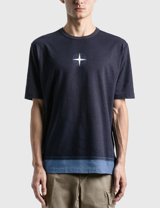 Stone Island Star 로고 티셔츠 Bleu Marine Men