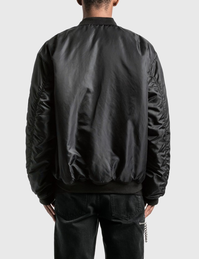 Raf Simons Nylon Patched Bomber Jacket With Wool Elongation Dark Brown Dark Green Men