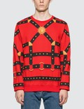 Versace Harness Print Sweatshirt Rosso-nero Men