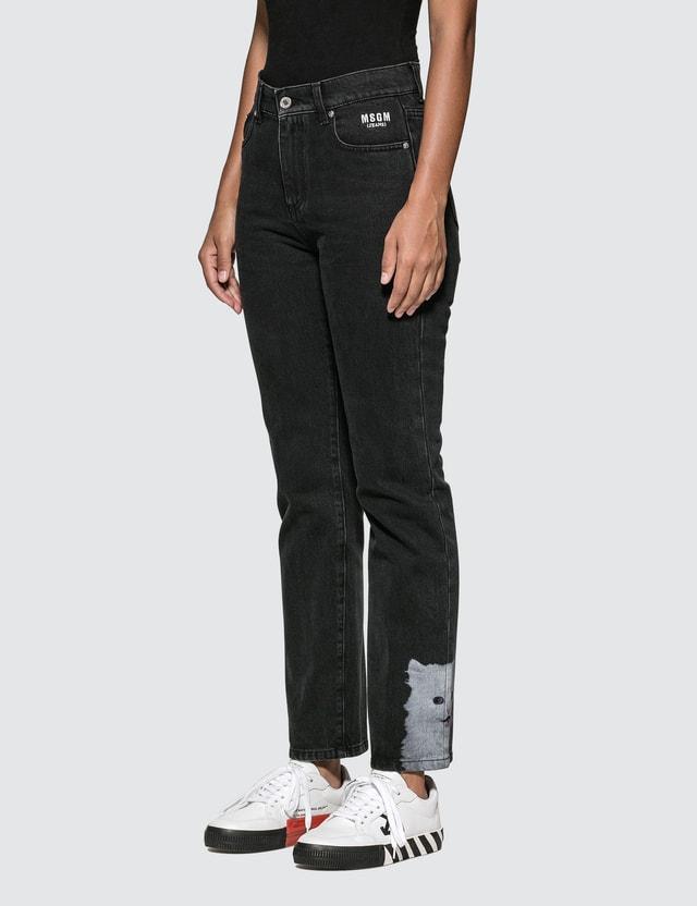 MSGM Cat Printed Jeans