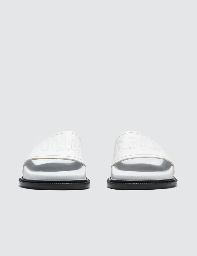 MM6 Maison Margiela Leather Slippers White Women